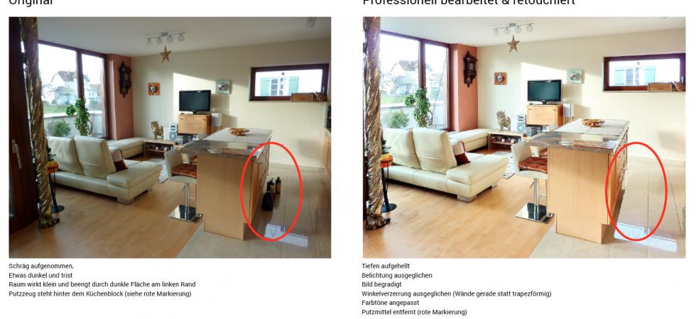 Professionelle Bildbearbeitung für Immobilienmakler Retouche